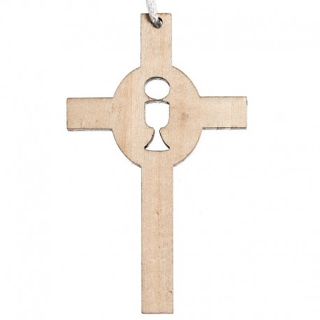 Croix de communion simple bois